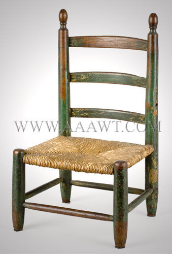 Early Child's Ladder-Back Chair Original Green Paint Early 19th Century, entire view
