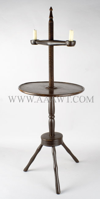Windsor Adjustable Candle Stand  Dished Adjustable Height Table  New England  Circa 1800, entire view