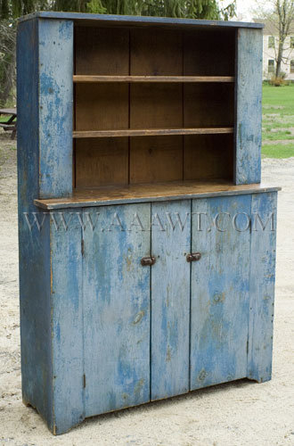 Step-Back Cupboard  BLUE PAINT...dry patina  First-half 19th century, entire view