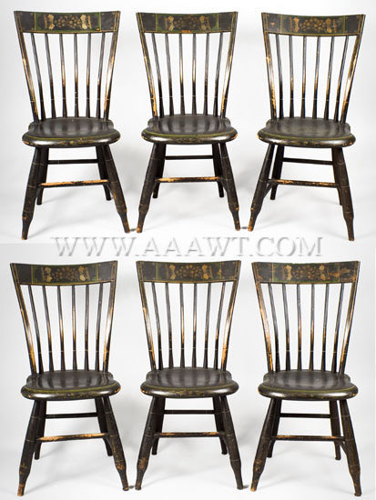 Chairs, Windsor Tablet Back, Matched Set of Six New England Early 19th Century, set view