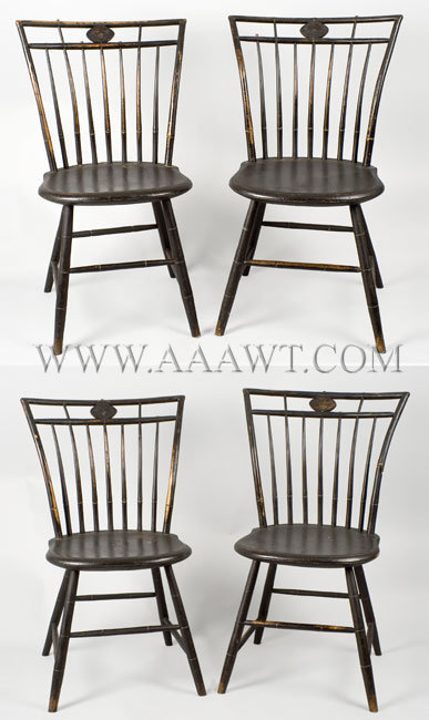 Square-Back Windsor Side-Chairs With Decorated Medallions...in old surface New England Circa 1820, entire view