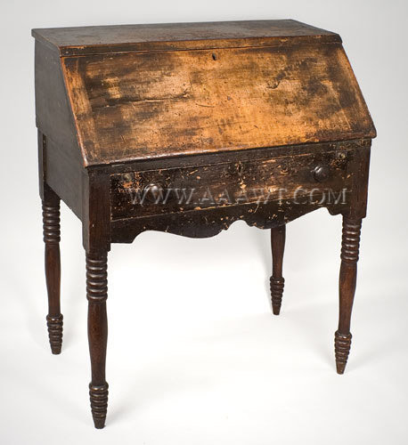 Desk, Slant Lid, Turned Legs  Mixed Woods  Maine  First Half 19th Century, entire view