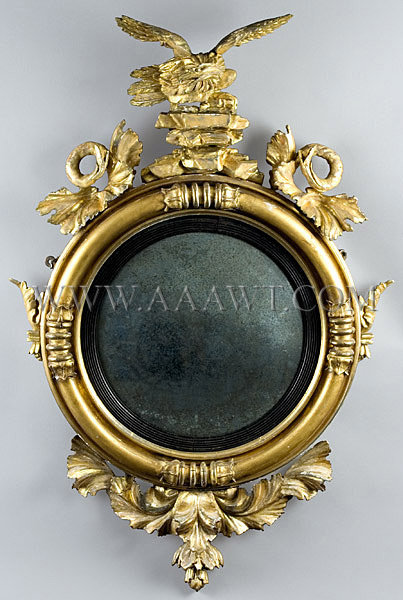 Gilded And Painted Mirror English Or American Circa 1800-1820, entire view
