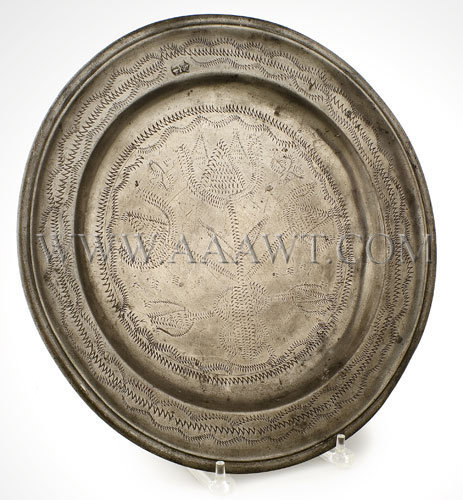 Dutch or Flemish Pewter Charger with Wrigglework Decoration