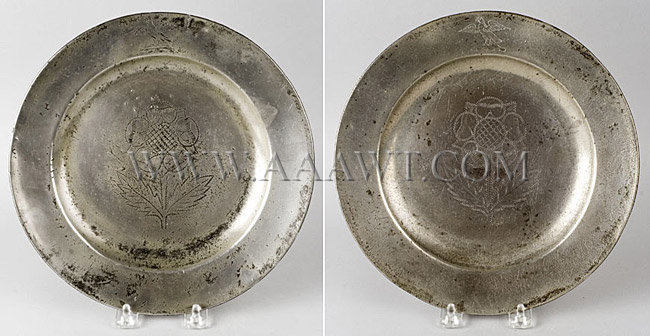 Pair of Pewter Plates with Wriggle Thistle Design