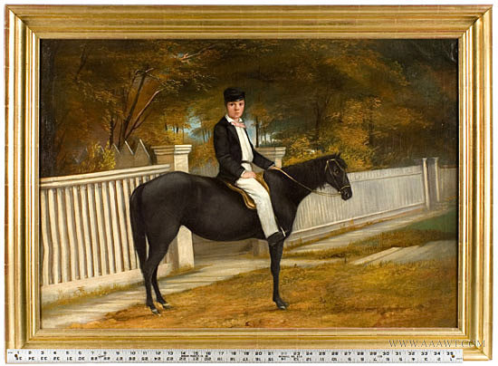 Antique Portrait of Boy on Horseback, Anonymous, Turn of the 20th Century, with ruler for scale