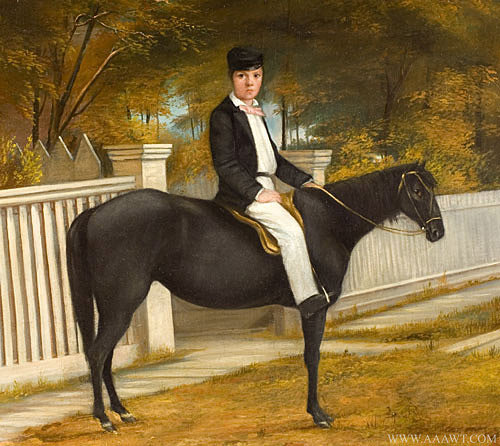 Antique Portrait of Boy on Horseback, Anonymous, Turn of the 20th Century, close up view