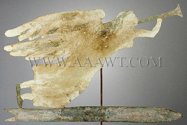 Antique Weathervane, Angel Gabriel, Sheet Iron, Painted, entire view