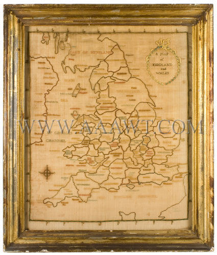 Antique Embroidery, Schoolgirl Map, England and Wales, entire view