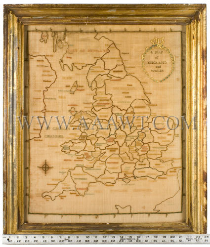 Antique Embroidery, Schoolgirl Map, England and Wales, with ruler for scale