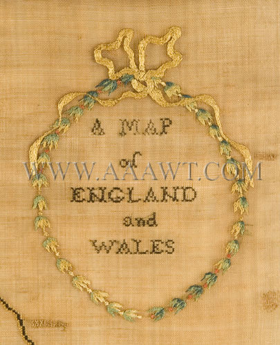 Antique Embroidery, Schoolgirl Map, England and Wales, title detail