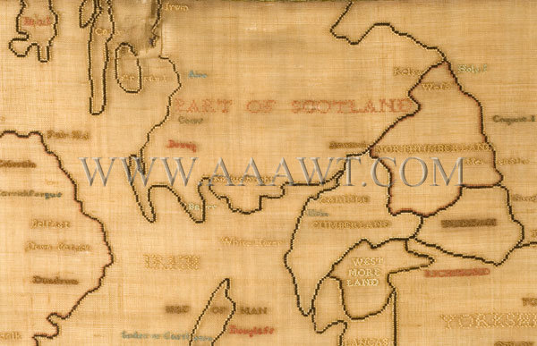 Antique Embroidery, Schoolgirl Map, England and Wales, Scotland detail