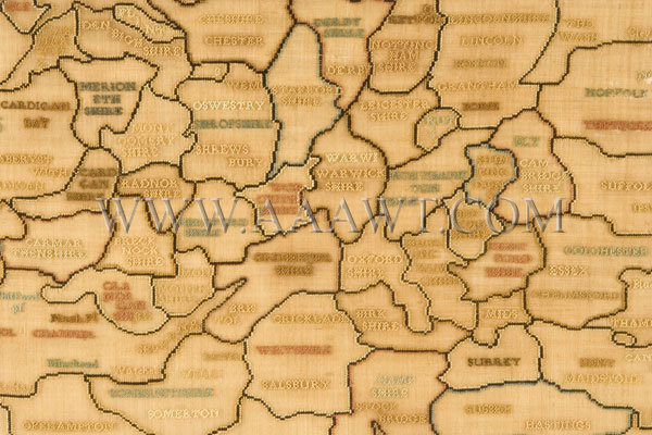 Antique Embroidery, Schoolgirl Map, England and Wales, counties detail