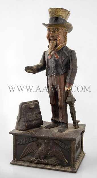 Antique Bank, Mechanical Bank, Uncle Sam, Cast Iron, angle view