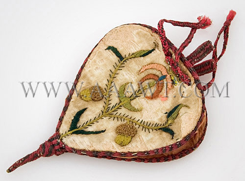 Antique Purse, Embroidered Silk, Bellows Form, 17th Century, side one entire