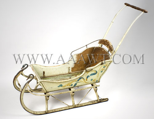 Antique Sled, Original Paint, Late 19th Century, angle view