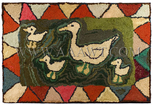 Antique Hooked Rug, Family of Ducks, entire view