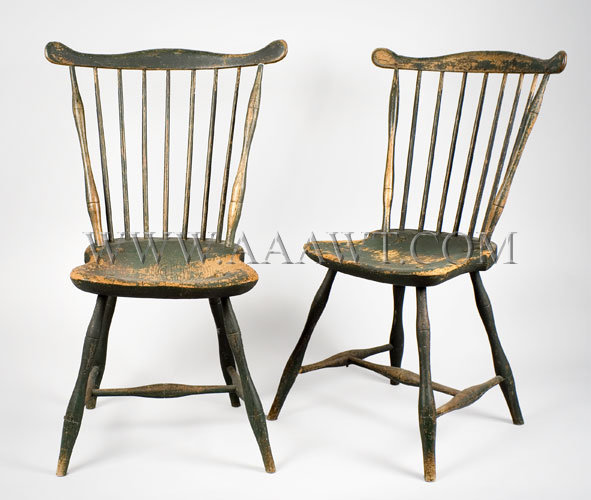 Fan Back Windsor Side Chairs Probably Boston Area Circa 1790 1810. Old  Green Paint   SOLD