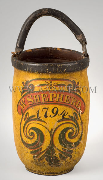 Leather Fire Bucket  W. Shepherd  1794, entire view