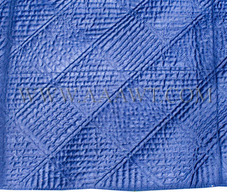 Antique Quilt, Linsey Woolsey, Indigo color with diamond pattern, close up detail