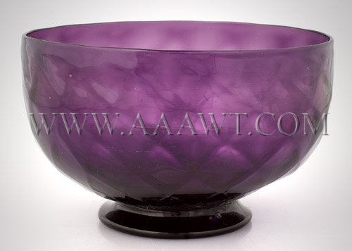 Blown Molded Steigel Type Footed Bowl  Diamond Pattern, amethyst color  18th or Early 19th Century, entire view