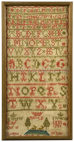 Antique Needlework, Marking Sampler by Lowisa White, Circa 1754, entire view