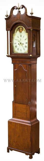 Tall Clock Probably New Jersey Cherry, mahogany banding Circa 1800, angle view
