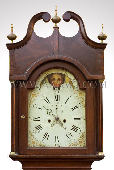 Tall Clock Probably New Jersey Cherry, mahogany banding Circa 1800, face detail 1