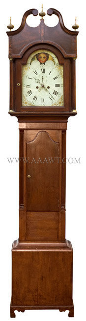 Tall Clock Probably New Jersey Cherry, mahogany banding Circa 1800, entire view