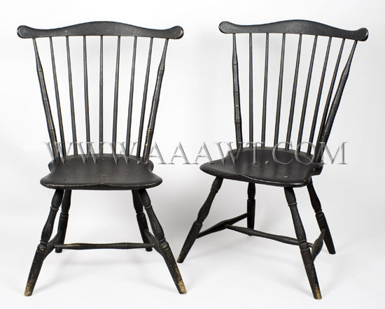 Pair Of Windsor Fan-Back Side Chairs New England Circa 1800, pair view
