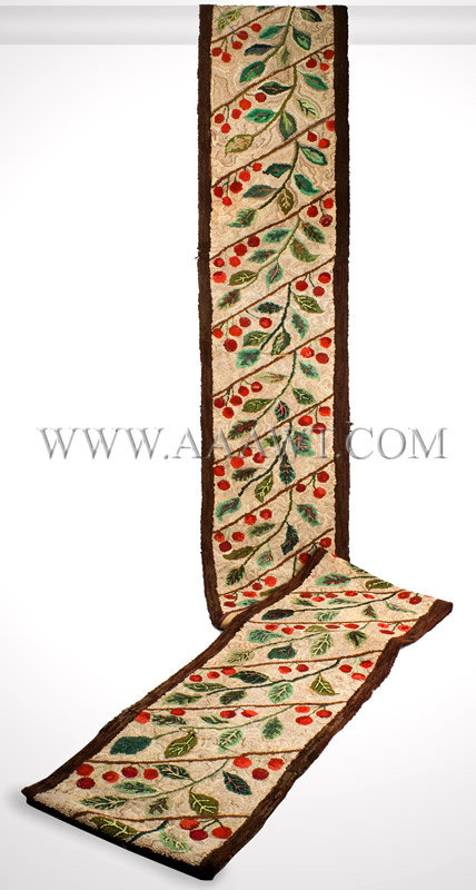 Antique Hooked Rug, Runner, Cherry and Leaf Motif, entire view