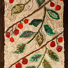 Antique Hooked Rug, Runner, Cherry and Leaf Motif, detail view