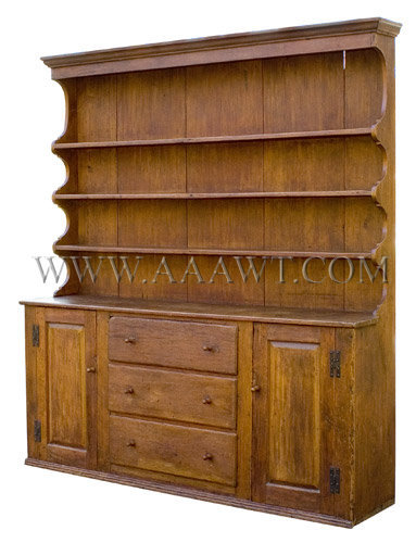 An Attractive Pewter Dresser, angle view
