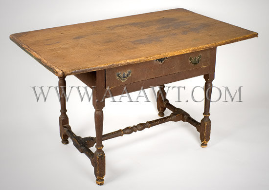 Antique Work/Tavern Table in Original Surface, New England, Circa 1730, angle view
