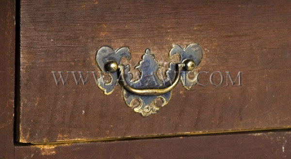 Antique Work/Tavern Table in Original Surface, New England, Circa 1730, handle detail