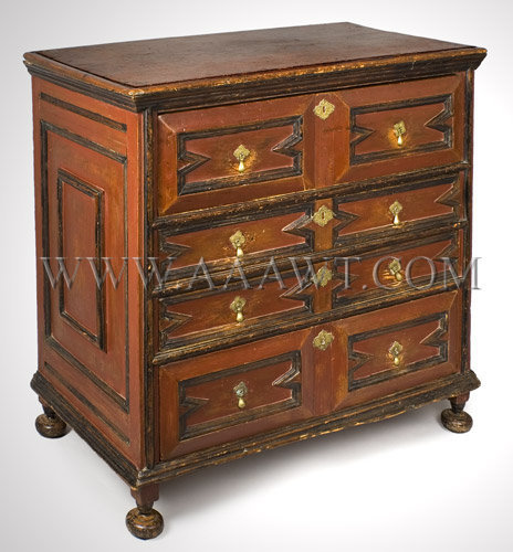 A JOINED CHEST-OF-DRAWERS BOSTON 1690-1700, entire view