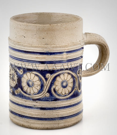 Westerwald    Salt Glazed Stoneware    ''GR'' Mug    Circa 1700, entire view