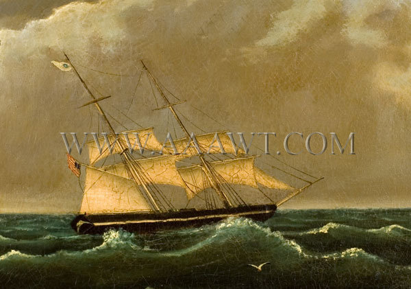 Ship Painting Flying American Flag Circa 1840-1860, entire view