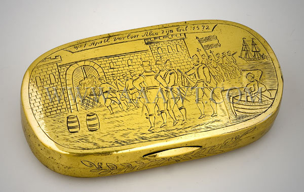 Brass Tobacco Box Engraved Decoration 18th Century, entire view