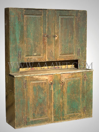 A one-piece cupboard featuring paneled doors hung from original hinges;  brass hardware appears to be original. The cupboard was long ago cleaned  revealing ... - Antique Furniture_Cupboards, Built-in Cupboards, Hanging Cupboards