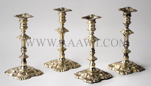 Candlesticks, Sheffield Plate, Matched Set Of Four, entire view
