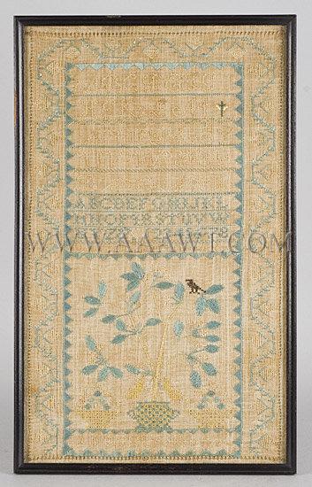 Antique Needlework, Sampler by Abigail Stratton, 1814, entire view