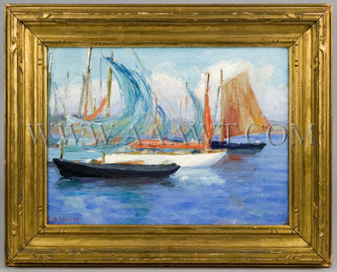 SARDINE NETS DRYING Edith Briscoe Stevens Oil on Artist's Board Circa 1925, entire view