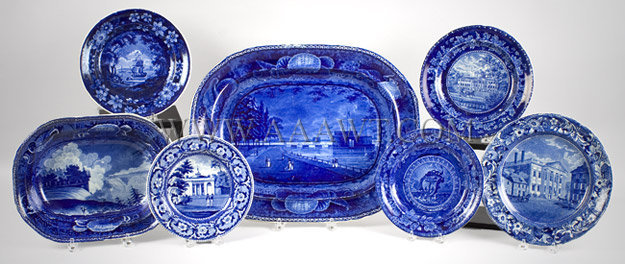 Historic Blue Staffordshire with American Scenes, entire view