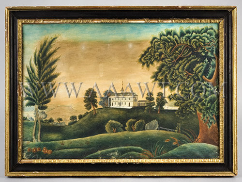 The Residence Of General Washington Watercolor on heavy wove paper...mounted on linen Early 19th Century, entire view
