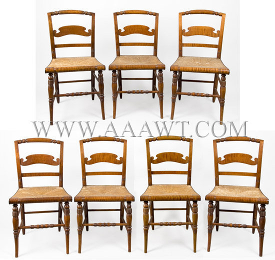 Sheraton Fancy Chairs, Curly Maple, Set of Seven American Country Formal Circa 1840 to 1850, set view