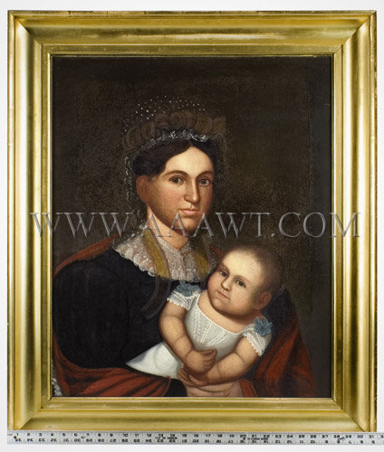 Portrait of Mother and Infant, Belknap, Folk Art Attributed to Zedekiah Belknap (1781 to 1858) Oil on Canvas, scale view