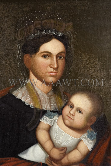 Portrait of Mother and Infant, Belknap, Folk Art Attributed to Zedekiah Belknap (1781 to 1858) Oil on Canvas, entire view