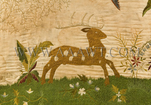 Antique Overmantle, Silk Embroidered, Circa 1830, deer detail