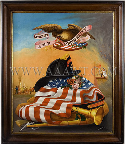 Antique Painting, Firehouse Memorial, Firefighting Tribute, entire view